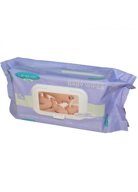 Lansinoh, Lingettes pour bébé nettoyantes, 80 lingettes, 7,9 x 6,9 po (20 x 17,5 cm)