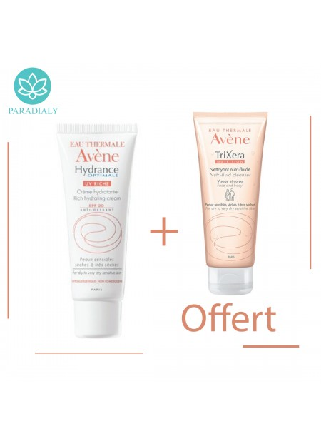 AVENE HYDRANCE OPTIMALE Crème hydratante UV riche SPF20 - 40 ml + avene trixera 100ml  offert