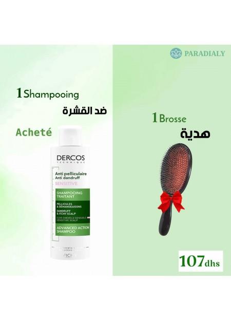 VICHY DERCOS Shampooing anti pelliculaire cuir chevelu sensible - 200 ml + brosse offert