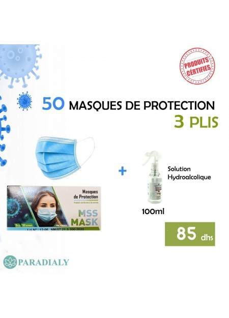 MASQUES DE PROTECTION (50 UNITÉS) + SOLUTION HYDROALCOLIQUE 100ML OFFERT