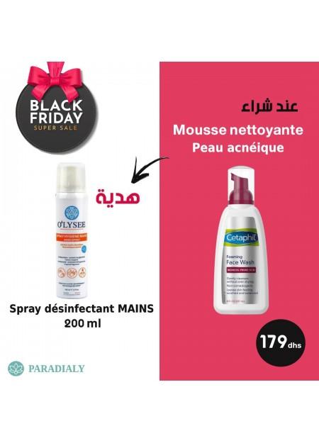 mousse nettoyante pour la peau acnéique + SPRAY DÉSINFECTANT MAINS 200 ML