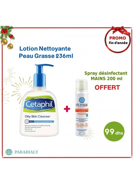 Cetaphil Gentle Skin Cleanser lotion nettoyante 236ml + spray désinfectant mains 200 ml