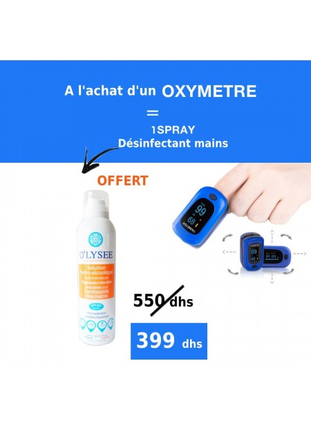 OXYMETRE  + Spray Désinfectant main 200 ml offert