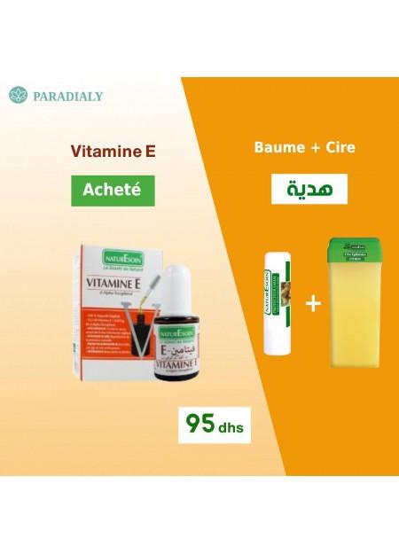 Nature Soin Pack Sérum Vitamine E + Cartouche de Cire + Stick Labial offert
