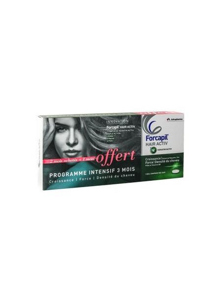 FORCAPIL HAIR ACTIV. Lot de 2 Boîtes 30 comprimés + 1 Boîtes Offerte